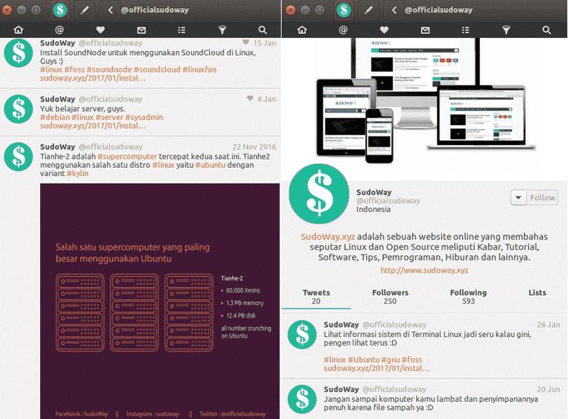 Install CoreBird, Twitter di Linux