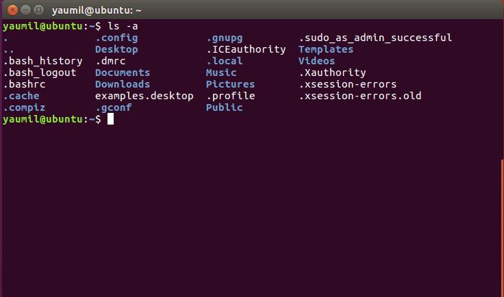 Menampilkan Semua Isi Sebuah Folder - ls -a
