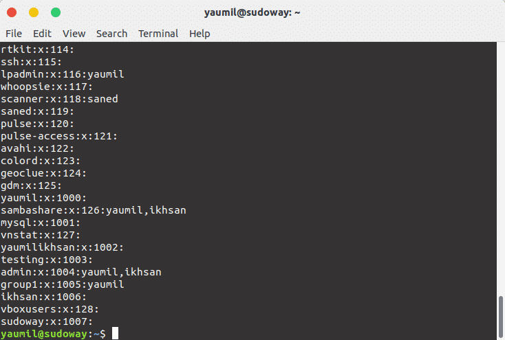 Melihat Daftar Group Yang Ada Pada Linux
