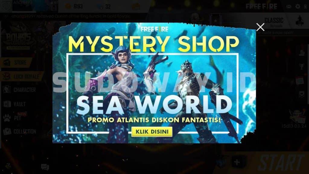 free fire mystery shop sea world