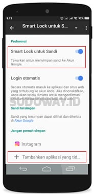 cara menonaktifkan google smart lock instagram